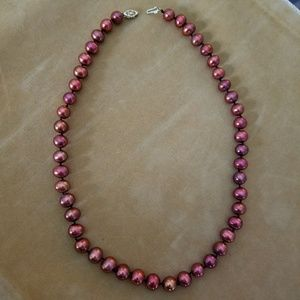REAL 8mm red pearl necklace 14k clasp